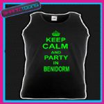 KEEP CALM AND PARTY IN BENIDORM HOLIDAY CLUBBING UNISEX VEST TOP
